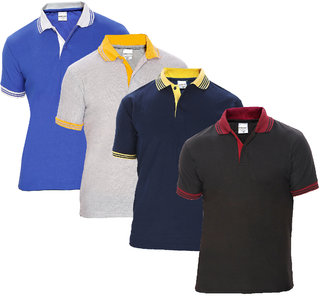 Pack of 4 Polo Casual T Shirt For Men by Baremoda (Black ,Navy ,Grey & Blue)