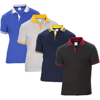 Baremoda Men's Polo T Shirt Black Navy Grey Blue Combo Pack of 4