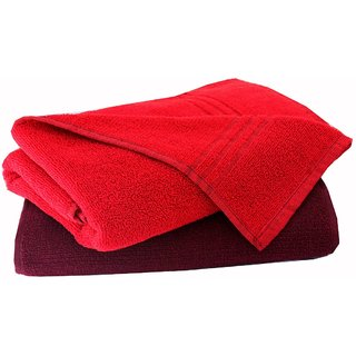 Home Berry 450 GSM Maroon  Red Bath Towels (70cmX140cm)(Pack of 2)