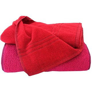 Home Berry 450 GSM Red  Pink Bath Towels (70cmX140cm)(Pack of 2)
