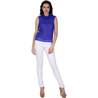 Fashion meee georgette cowl neck blue sleeveless top