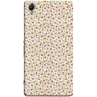 FUSON Designer Back Case Cover for Sony Xperia XA :: Sony Xperia XA Dual (Pink Lecien Fabric Pink Blue Flower Green Leaf Tiny )