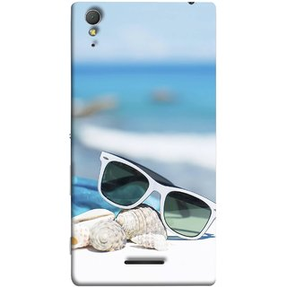 FUSON Designer Back Case Cover for Sony Xperia T3 (Summer Vacation Beach Mobile Wallpaper Blue Sky )