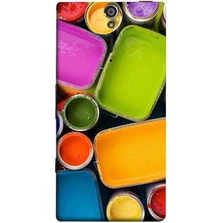 FUSON Designer Back Case Cover for Sony Xperia SL :: Sony Xperia S :: Sony Xperia SL LT26I LT26ii (Cans And Paint On Colour Background Bright Full Joy )