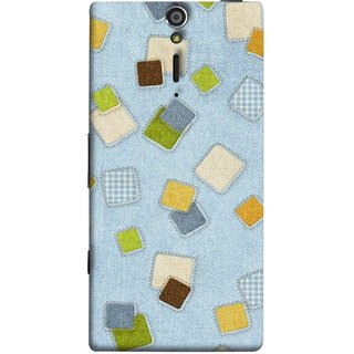 FUSON Designer Back Case Cover for Sony Xperia SL :: Sony Xperia S :: Sony Xperia SL LT26I LT26ii (Lot Colours Squares Patch Tiles Brown White Checks )