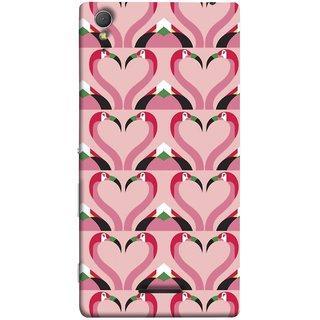 FUSON Designer Back Case Cover for Sony Xperia T3 (Flamingos Head In Heart Shape Tattoo Design)