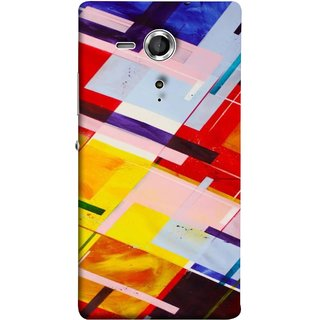 FUSON Designer Back Case Cover for Sony Xperia SP :: Sony Xperia SP HSPA C5302 :: Sony Xperia SP LTE C5303 :: Sony Xperia SP LTE C5306 (Bright Beautiful Colour Strips And Band Wave Triangle)