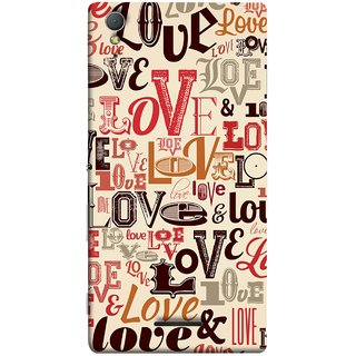 FUSON Designer Back Case Cover for Sony Xperia T3 (Red Black Only Love Grey Symbols Victory Brown )