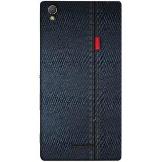 FUSON Designer Back Case Cover for Sony Xperia T3 (Denim Dark Blue Jeans White Thread Boys Love)