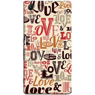 FUSON Designer Back Case Cover for Sony Xperia XA :: Sony Xperia XA Dual (Red Black Only Love Grey Symbols Victory Brown )
