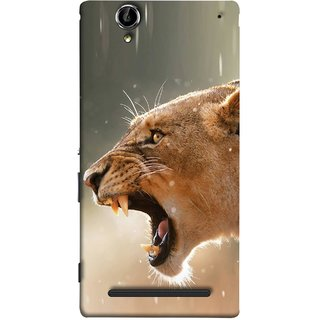 FUSON Designer Back Case Cover for Sony Xperia T2 Ultra :: Sony Xperia T2 Ultra Dual SIM D5322 :: Sony Xperia T2 Ultra XM50h (Tiger Lion Chitta Angrily Looking Killer Hunter Shikari)