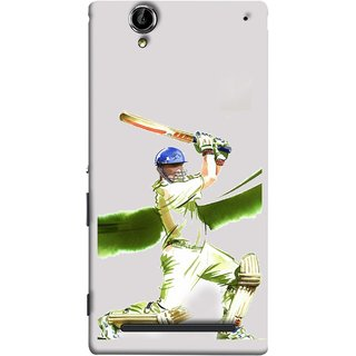 FUSON Designer Back Case Cover for Sony Xperia T2 Ultra :: Sony Xperia T2 Ultra Dual SIM D5322 :: Sony Xperia T2 Ultra XM50h (Cricket Bat Ball Helmet Green Ground Batsman)