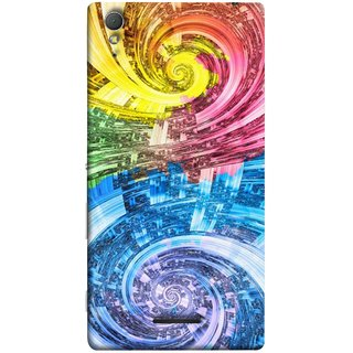 FUSON Designer Back Case Cover for Sony Xperia T3 (Yellow Pink Blue Green Galaxy Waves Circles Sprial)