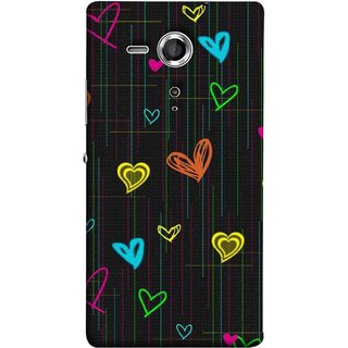 FUSON Designer Back Case Cover for Sony Xperia SP :: Sony Xperia SP HSPA C5302 :: Sony Xperia SP LTE C5303 :: Sony Xperia SP LTE C5306 (Multicolour Hearts Shapes Shining Shapes Loopable)