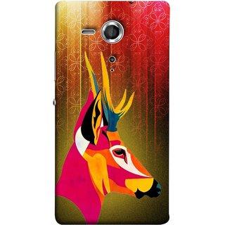 FUSON Designer Back Case Cover for Sony Xperia SP :: Sony Xperia SP HSPA C5302 :: Sony Xperia SP LTE C5303 :: Sony Xperia SP LTE C5306 (Christmas Deer Origami Merry Abstract Reindeer)