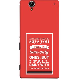 FUSON Designer Back Case Cover for Sony Xperia T2 Ultra :: Sony Xperia T2 Ultra Dual SIM D5322 :: Sony Xperia T2 Ultra XM50h (Everyone Says You Fall In Love Only Once )