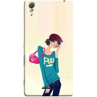 FUSON Designer Back Case Cover for Sony Xperia T3 (Morden Lady Tshirt Jeans Cap Beautiful Girly)