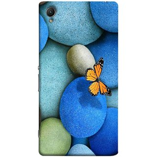 FUSON Designer Back Case Cover for Sony Xperia XA :: Sony Xperia XA Dual (Butterfly Rocks Beautiful Colorful Blue Splendo Butterfly)