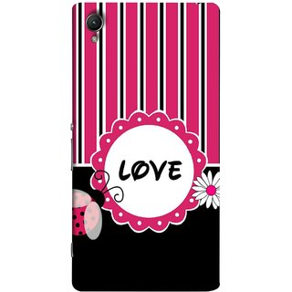FUSON Designer Back Case Cover for Sony Xperia XA :: Sony Xperia XA Dual (Pink Black White Vertical Vector Strips Lines Designs)