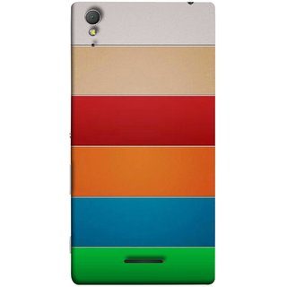 FUSON Designer Back Case Cover for Sony Xperia T3 (Rainbow Colours Bright Bands Red Orange Blue)