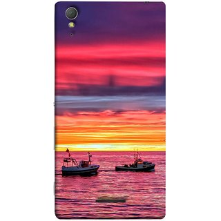 FUSON Designer Back Case Cover for Sony Xperia T3 (Red Sky Horizon Fishing Boats Sun Shining Happy)