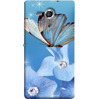 FUSON Designer Back Case Cover for Sony Xperia SP :: Sony Xperia SP HSPA C5302 :: Sony Xperia SP LTE C5303 :: Sony Xperia SP LTE C5306 (In Center Glitter Diamonds Flowers Butterfly Nature)