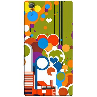 FUSON Designer Back Case Cover for Sony Xperia T3 (Multi Designs Squares Circles Hearts Mehandi)