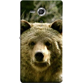 FUSON Designer Back Case Cover for Sony Xperia SP :: Sony Xperia SP HSPA C5302 :: Sony Xperia SP LTE C5303 :: Sony Xperia SP LTE C5306 (Bhalu Looking At You Animal Forest Green Background)