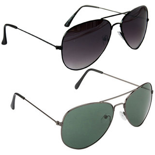 Combo of Sunglasses With Black Aviator and Aviator With Black Rim