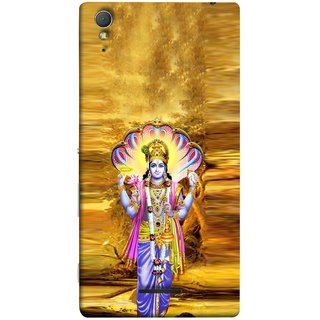 FUSON Designer Back Case Cover for Sony Xperia T3 (Krishna With Murli Sheshnag Morpankh Lotus Makhanchor)
