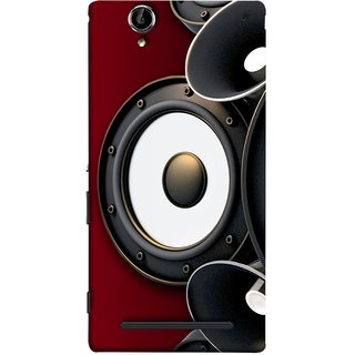 FUSON Designer Back Case Cover for Sony Xperia T2 Ultra :: Sony Xperia T2 Ultra Dual SIM D5322 :: Sony Xperia T2 Ultra XM50h (Black Speaker Music Listen Youth Boys)