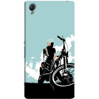 FUSON Designer Back Case Cover for Sony Xperia XA :: Sony Xperia XA Dual (Wheels White Clouds Grass Bike Usa Flag Helmet )