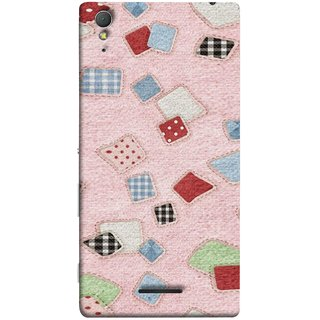 FUSON Designer Back Case Cover for Sony Xperia T3 (Baby Pink Lot Colours Squares Patch Tiles )