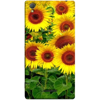 FUSON Designer Back Case Cover for Sony Xperia T3 (Field Of Bright Happy Sunflowers Outside Oil Food)