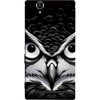 FUSON Designer Back Case Cover for Sony Xperia T2 Ultra :: Sony Xperia T2 Ultra Dual SIM D5322 :: Sony Xperia T2 Ultra XM50h (Grey Owl Night Vision Big Beak Killing Look)