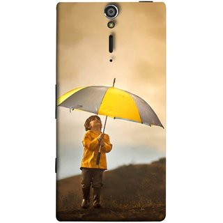 FUSON Designer Back Case Cover for Sony Xperia SL :: Sony Xperia S :: Sony Xperia SL LT26I LT26ii (Adorable Little Boy Holding Toy Friend And Umbrella)