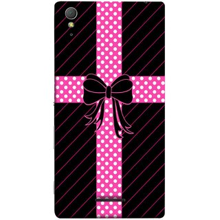 FUSON Designer Back Case Cover for Sony Xperia T3 (Ribbon Lace With Roses Red Light Blue And Pink Box)