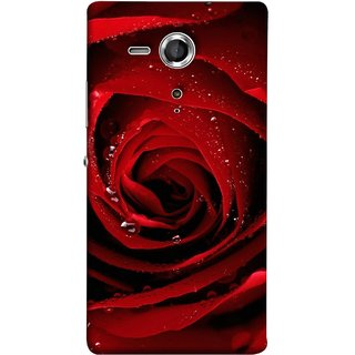 FUSON Designer Back Case Cover for Sony Xperia SP :: Sony Xperia SP HSPA C5302 :: Sony Xperia SP LTE C5303 :: Sony Xperia SP LTE C5306 (Closeup Of Red Rose With Sprinkled With Water Droplets)