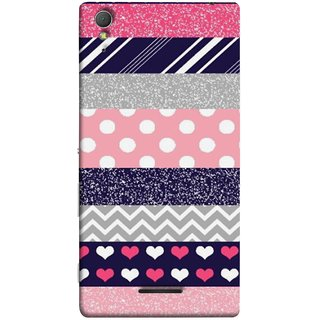 FUSON Designer Back Case Cover for Sony Xperia T3 (Colourful Patterns Hearts Lines Checks Dark Red )