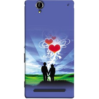 FUSON Designer Back Case Cover for Sony Xperia T2 Ultra :: Sony Xperia T2 Ultra Dual SIM D5322 :: Sony Xperia T2 Ultra XM50h (Couple Enjoying Beautiful Sunrise Red Hearts Sunshine)