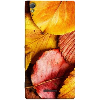 FUSON Designer Back Case Cover for Sony Xperia T3 (Multicolour Dry Leaves Painting Bright Sunny Day )