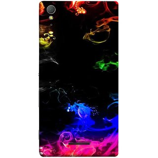FUSON Designer Back Case Cover for Sony Xperia T3 (Smoking Painting Sprials Blue Black Green Leaves )