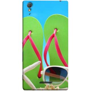FUSON Designer Back Case Cover for Sony Xperia T3 (Green Chappals Sand Starfish Sunny Day Sunshine)