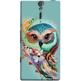 FUSON Designer Back Case Cover for Sony Xperia SL :: Sony Xperia S :: Sony Xperia SL LT26I LT26ii (Birds Sitting Alone Waiting For Partner Leaves Leaf Sketch)