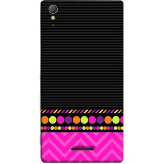 FUSON Designer Back Case Cover for Sony Xperia T3 (White Pack Craft Paper Dots Black Background)