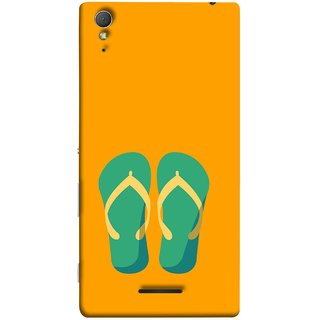 FUSON Designer Back Case Cover for Sony Xperia T3 (Green Chapplas With Yellow Belts On Orange Back)