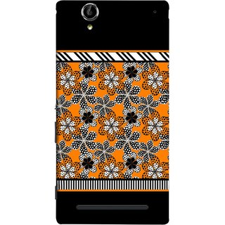 FUSON Designer Back Case Cover for Sony Xperia T2 Ultra :: Sony Xperia T2 Ultra Dual SIM D5322 :: Sony Xperia T2 Ultra XM50h (White Gray Yellow White Black Flowers Unstitched)