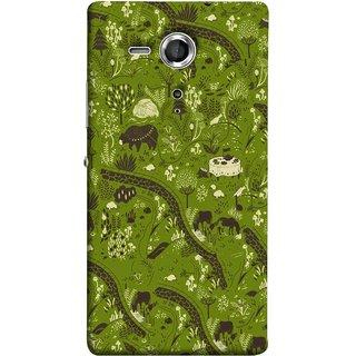 FUSON Designer Back Case Cover for Sony Xperia SP :: Sony Xperia SP HSPA C5302 :: Sony Xperia SP LTE C5303 :: Sony Xperia SP LTE C5306 (Green Grass Cow Mushrooms Leaves Branches )