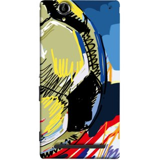 FUSON Designer Back Case Cover for Sony Xperia T2 Ultra :: Sony Xperia T2 Ultra Dual SIM D5322 :: Sony Xperia T2 Ultra XM50h (Curved Straignt Acrylic Texture Lines Oil Paint Bright)