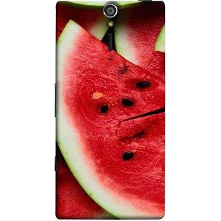 FUSON Designer Back Case Cover for Sony Xperia SL :: Sony Xperia S :: Sony Xperia SL LT26I LT26ii (Watermelon Slice Pattern Of Ripe Dark Red Tasty Food)